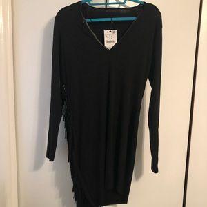 NWT Zara long sleeve fringe shirt